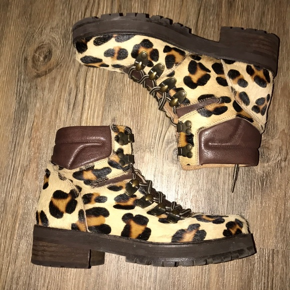 Pony Haired Leopard Print Hiking Boots